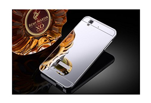 Taslar Luxury Mirror Metal Series Bumper Back Cover Case For Micromax Yu Yureka / Yu Yureka Plus (Silver)
