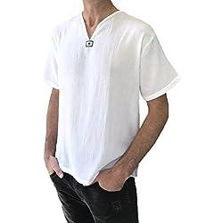 Hombre de Color Blanco Camiseta de Manga Corta 100% algodón tailandés Hippie Verano Playa Yoga Top