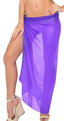 LA LEELA Sarong Pareo 10 solide Farben vorhanden Wickelrock Strandtuch Tuch Wickeltuch Handtuch Damens Badmode Leidenschaftlich Lila