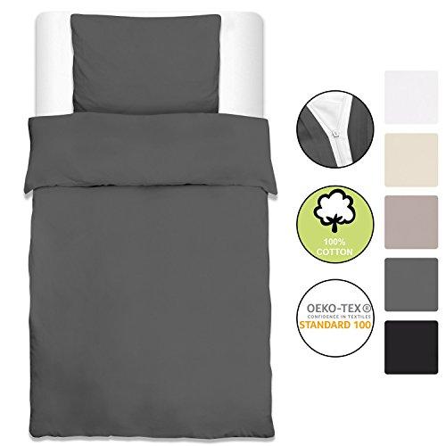 Beautissu Baumwolle Bettwäsche Renforcé Julie 2er Set Bettbezug 135x200 cm + Kopfkissenbezug 80x80 cm Baumwolle Oeko-Tex Anthrazit