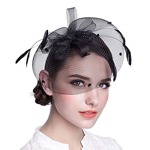 (OLADO Fascinators für Frauen Mesh Braut Kopfschmuck Haarbänder Retro Tea Party Hüte Zubehör Hut)