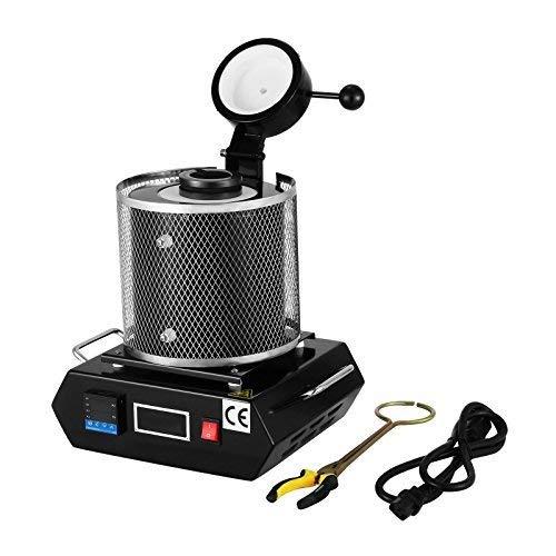 FlowerW 1KG Goldschmelzender Ofen 1150℃ Schmelzofen Gussmaschine 1800W Elektrische Schmelze Heizleistung Refining Edelmetalle für Schmuckstein(3KG)