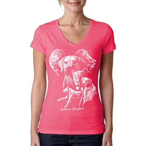 Fun Girlie V-Neck Shirt - Hunde T-Shirt: Rhodesian Ridgeback by Im-Shirt - Light-Pink XL (Rhodesian Light)