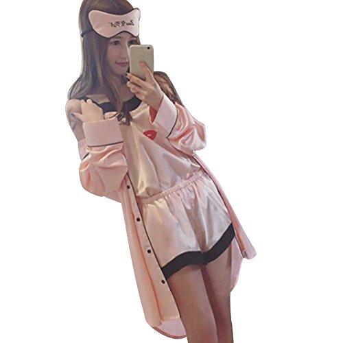 Funie Frauen Sommer Pyjamas Top Shorts Robe Nachtwäsche Kleidung Set 4 Stück size M (Sommer-pyjama)