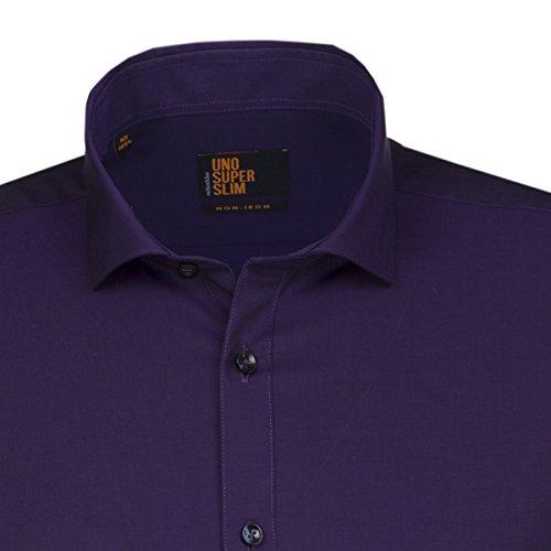 SEIDENSTICKER Herren Hemd Slim 1/1-Arm Bügelfrei Uni / Uniähnlich City-Hemd Hai-Kragen Kombimanschette weitenverstellbar lila (0089)