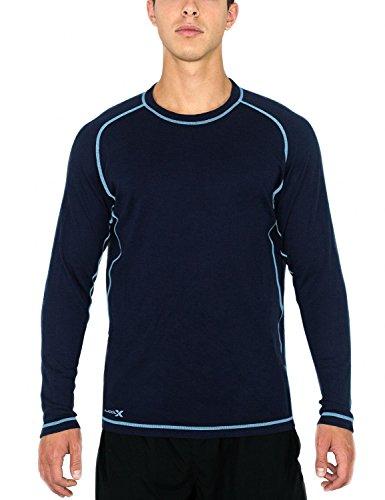 WoolX Herren Merinowolle Shirt-Feuchtigkeitstransport-atmungsaktiv Wolle Shirt Medium Alaskan Blue -
