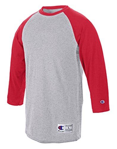 champion-t-shirt-de-sport-manches-3-4-homme-gris-oxford-rouge-ecarlate