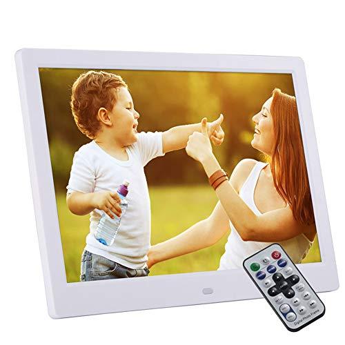 LSY 13-Zoll-Digitalfotorahmen, 1280 x 800 -Elektronischer Fotodisplay-MP3-MP4-Player Multifunktionswerbemaschine Unterstützung Musikvideo-Uhrenkalender (Weiß)