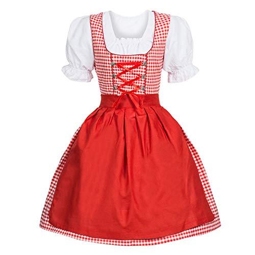 tüm Halloween kostüm Cosplay Cosplay kostüme faschingskostüme Oktoberfest Kostüm perücke Dirndl weihnachtskostüm Damen 9 Stücke Dirndl Kleid Traditionell Bayerisch Karneval ()