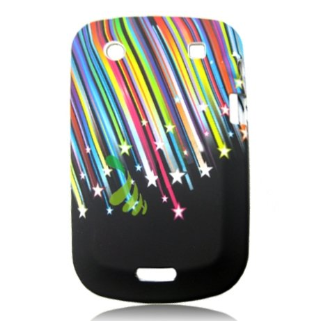 Blackberry Bold 9900 - Hell Bunt Sternschnuppen Design-Flexible Gel Cover Gehäuse und Ultra Clear Displayschutzfolie - Handy-Zubehör