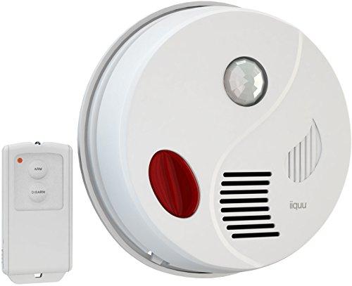 iiquu Sensor Alarm Decke; Bewegungsmelder Alarm mit Fernbedienung und zusätzlicher Türgong-Funktion, laute 110db Sirene - Motion Sensor Alarm