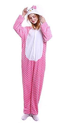 Dingwangyang Uinisex Erwachsene Pyjama Onesie Kigurumi Cosplay Kost¨¹me Tier Overall Rosa Katze-L