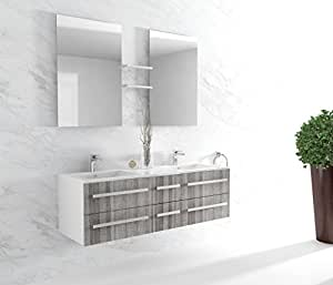 InterougeHome - Meuble de Salle de Bain double vasque Coloris Gris Chiné - Miroir Mural avec 2 Étagères Latérales - 2 Mitigeurs 2 Bondes et 4 Flexibles Offerts