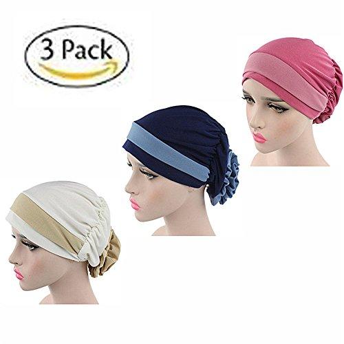 Block Kopf (ZYCC Frauen Chemo Krebs Kopf Schal Hut Stretch Blume Block Schal Cap Muslim Kopftuch Hut Packung mit 3(Gruppe 1))