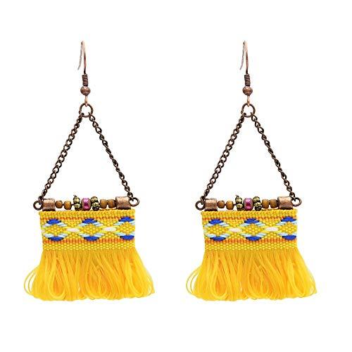 Allgemeiner Zweck Böhmische Vintage Fringe Ohr Haken Mädchen handbestickte gelbe Blume Ohrringe (Fringe Ohr)
