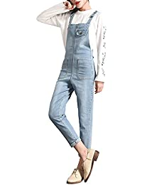 67435a0c9f3 Sobrisah Women Regular Fit Denim Dungarees Long Overalls Jumpsuit Playsuit  Jeans Trousers