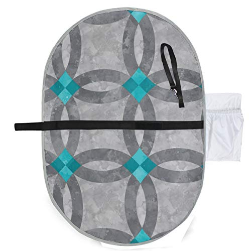 Urine pad Portable Diaper Changing Mat,Cheater Quilt Double Wedding Ring Aqua Grey Mattress Sheet Protector Pee Pads Urine Mat for Baby -
