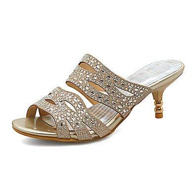 zhENfu Donna Sandali Primavera Estate Autunno scarpe Club Glitter Materiale personalizzato party di nozze & abito da sera gioielli tacco paillettes glitter spumanti Gold