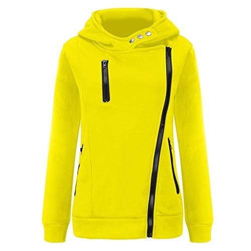 BOLANQ Jacke Damen Sweatjacke Hoodie Sweatshirt Oberteile Damen Pullover Kapuzenpullover Pulli mit Reissverschluss(XX-Large,C-Gelb)