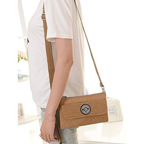 Outreo Handtasche Damen Schultertasche Mode Umhängetasche Wasserdicht Taschen Leichter Reisetasche Kleine Messenger Bag Beige