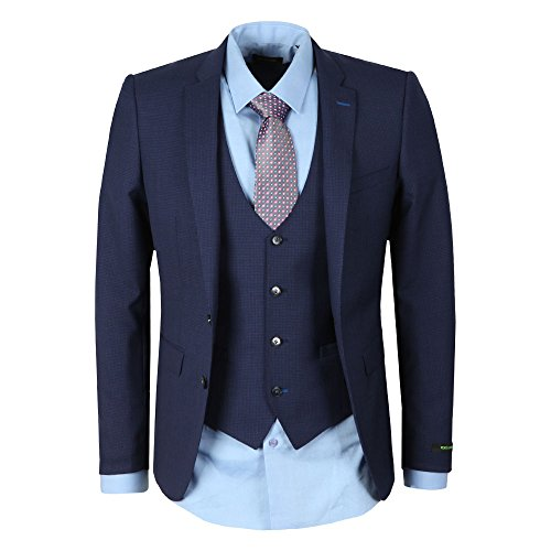 Remus Uomo Lazio Suit in Navy Micro Check 44R -
