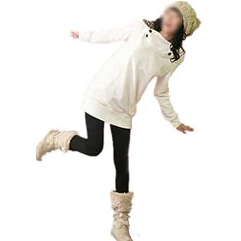 Gleader Femmes Sweat-shirt a Capuche Leopard Tops Blouses Pull Manteau Pull Vetements d'Exterieur Blanc Taille M