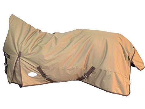 Regen-Decke Weidedecke mit Nylon Futter Half Neck- Turnout Pferdedecke (145 cm, Beige | Lightbrown)