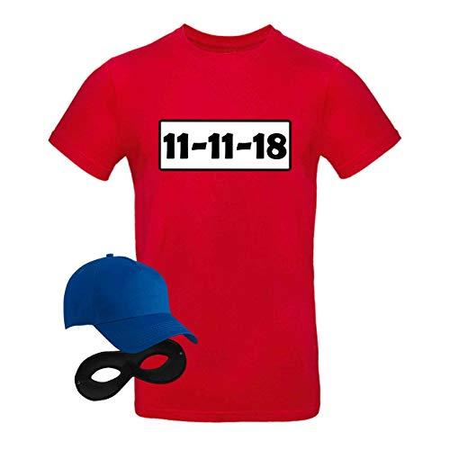 T-Shirt Panzerknacker Kostüm-Set Deluxe+ Cap Maske Karneval Herren XS - 5XL Fasching JGA Sitzung Weiberfastnacht, Größe:L, Logo & Set:11.11./Set Klassik (11.11.XX/Shirt+Cap+Maske)