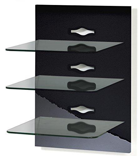 "VCM Paneel Hifi Halterung Receiver DVD-Player Möbel Konsole Wandregal Schwarz/Klarglas ""Xeno-3 Klarglas"""
