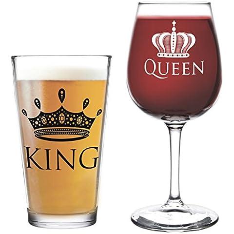 King Queen DuVino-Bicchiere da vino in vetro, colore: nero