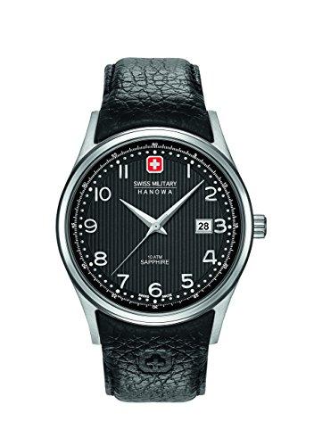 Swiss Military Hanowa Herren Analog Quarz Uhr mit Leder Armband 06-4286.04.007