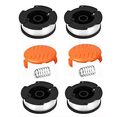 Fadenspule rasentrimmer ersatzspule Kabel Spulendeckel Kompatibel mit Black und Decker AF-100-3ZP 4 Stücke Ersatzspule und 2 Stücke Spulendeckel