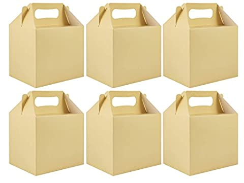 6 x Ivory Paper Lunch Box Going Home Present Picnic Boxes
