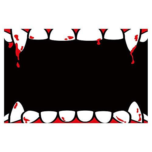 vrupi Halloween Decor rote Lippen blutende zähne in schwarz Bad teppiche rutschfeste fußmatte Boden eingänge Indoor haustür Matte Kinder Bad Matte 15,7x23,6 Zoll badzubehör