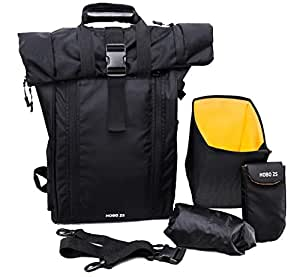 LTP Designs HOBO25 Rolltop Laptop Backpack with Rain Cover, Pouch, Waist Belt and Camera Box(Black)