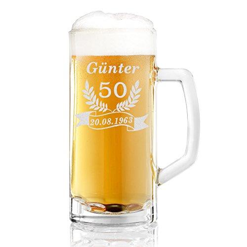 Bierkrug mit Gravur eines Namens, Jahreszahl und Geburtsdatum – Bierseidel Motiv Jubiläum 0,5l
