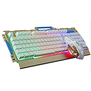 Tastatur, Wired USB-Hintergrundbeleuchtung Mechanical Gaming Keyboard Mäuse Game-Tastatur-Maus-Set Einstellbare 3200DPI 1.5M Kabel für Laptop