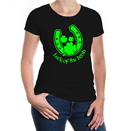 buXsbaum® Damen Kurzarm Girlie T-Shirt bedruckt Luck of the Irish | Irland St. Patrick Green | XL black-neongreen Schwarz (T-shirts Green-day-bedruckte)