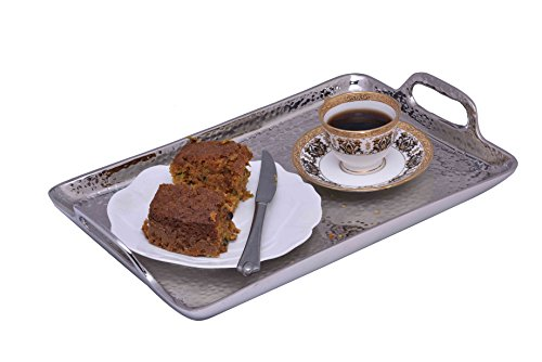 Sammsara Decorative Food Safe Metal Hammered Rectangle Serving Tray With Handles For Starters,snacks Or Fruits