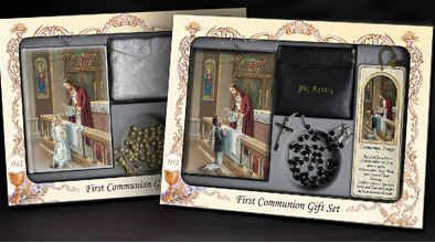 Deluxe Wallet Set (Boys First Communion Deluxe Set Includes Missal, Gift Rosary, Leather Wallet Case or Satin Purse, Tassel Bookmark, Communion Pin, Gift Box by O'Connor's Church Goods)