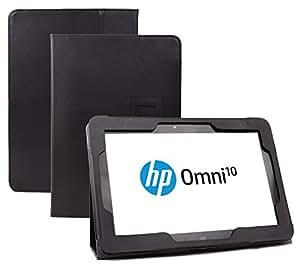 Supremery - HP Omni 10 (10 pouces) Cuir Sac Boîte Étui en cuir Manteau Couverture Protecteur Enveloppe de protection en noir avec fonction de rester debout