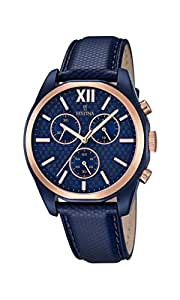Festina Orologio da uomo al quarzo con Display con cronografo e cinturino in pelle, colore: blu, 1 F16862