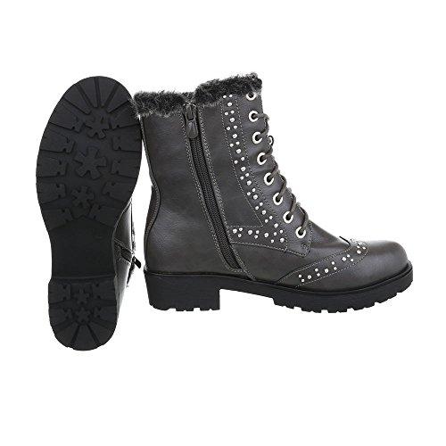 Schnürstiefeletten Damenschuhe Klassischer Stiefel Blockabsatz Warm Gefütterte Reißverschluss Ital-Design Stiefeletten Grau