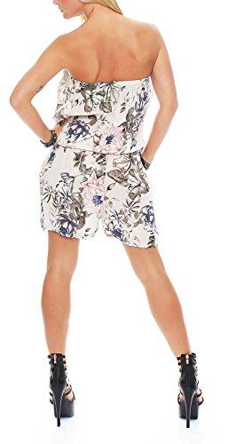 malito Damen Einteiler mit Flower Print | kurzer Overall mit Stoffgürtel | Jumpsuit