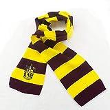 Womdee Harry Potter Gestreifter Schal – superweicher Strickstoff – Handstickerei, leicht, Mehrfarbig Yellow+red