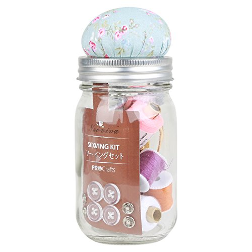 neoviva procrafts Nähset in Glas für näheinsteiger, 40das erstklassige Nähen suplies enthalten, Stil Buzz Style Buzz Floral Blue Ocean