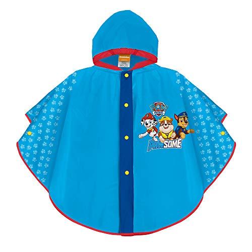 PERLETTI Paw Patrol Regencape für Kinder - Marshall Chase Rubble - Jungen wasserdichte Regen Poncho mit Kapuze - Helfer auf Vier Pfoten Regenjacke aus Eva - Rote Details (Hellblau, 3/6 Jahren)