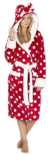 Forever Dreaming Damen Luxus Fleece Weihnachten mit Kapuze Dressing Dress Winter Robe - Rote Polka Größe 40-42