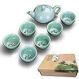 Chinesisches Tee-Set Hochwertiges Porzellan 7-Teiliges Set - Teekanne Tasse