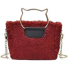 509f9d048cec1 AchidistviQ Damen Handtasche Schultertasche mit Katzenringen aus Plüsch rot